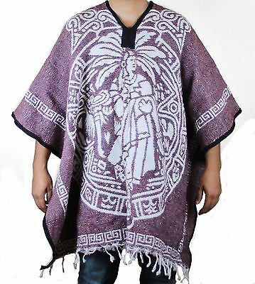 Aztec Warrior Mexican Poncho Gaban Blanket Cape Ruana Traditional Tribal