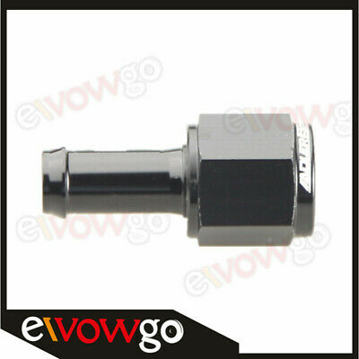 """6AN AN6 AN-6 Female To 3/8"""" (10mm) Straight Barb Hose Adapter Fitting Black"""