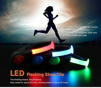 USB Rechargeable LED Safety Light Flashlight Shoe Clips Waterproof 1 Pair