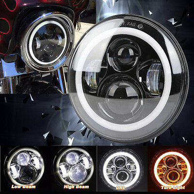 "7"" Motorcycle Projector Daymaker Headlight Halo Angle Eyes For Harley Davidson"