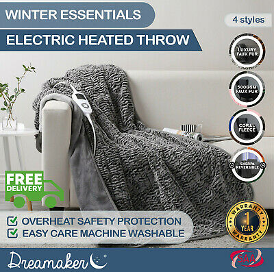 DREAMAKER HEATER Electric THROW RUG Snuggle Blanket Washable 9 SETTINGS MODES