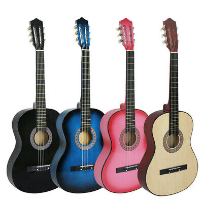 """30"""" 38"""" 39"""" Beginners Acoustic Guitar With Guitar Case Strap Pick Wooden"""
