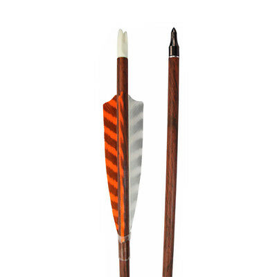 "6X 30"" Archery Arrows Wood Camo Pure Carbon SP400 w/ Field Points Turkey Feather"