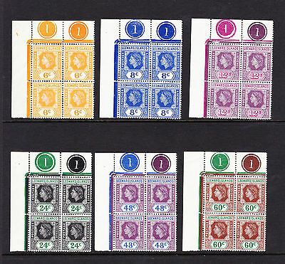 LEEWARD IS.1954 SET TO 60c WITH 'LOOP' FLAWS IN PLATE BLOCKS SG 126a-137a MINT.