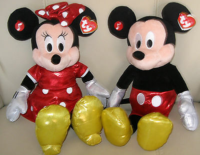 Ty Mickey Mouse / Minnie Mouse Sparkle With Sound - New And Tagged