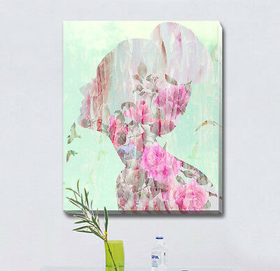 Flower Pattern Girl Stretched Canvas Print Framed Wall Art Home Kids Decor Gift