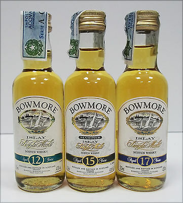 Miniature Scotch Whisky BOWMORE 3 Pezzi Diversi