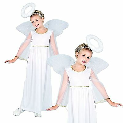 Girls Childs Nativity White Angel Christmas Xmas Fancy Dress Costume Wings Halo