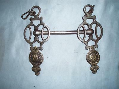 Antique Military Horse Driving Bit With Mounted Badges WW1