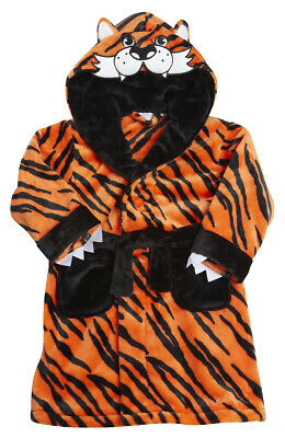 Kids Childrens Teenager Unisex Tiger Novelty Hooded Dressing Gown Robe Ages 2-13