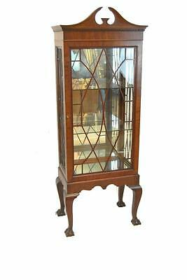 Chippendale Style Mahogany Claw Foot China Curio Display Cabinet