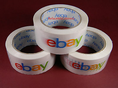 Lot of (3) Rolls White Ebay Branded  Shipping Tape