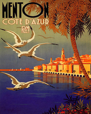 Poster Menton French Riviera The Pearl Of France Travel Vintage Repro Free S/H