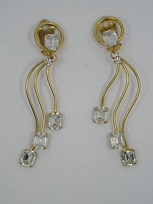 """VINTAGE OUTRAGEOUS 80's RUNWAY LARGE JEWELED EARRING ~ 3.5"""""""