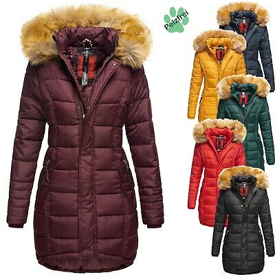 cheap for discount 93781 5c970 NAVAHOO DAMEN WINTER Jacke Mantel Steppmantel Parka Lang Kunstfell Kapuze  PAPAYA