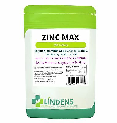 Zinc Max With Copper&Vitamin C High Strength Natural Food supplement 360 tablets