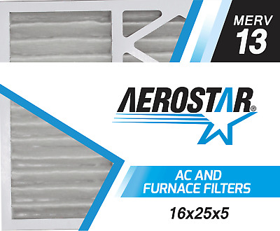 Aerostar 16x25x5 MERV  13,  Air Filter, 16x25x5, Box of 2