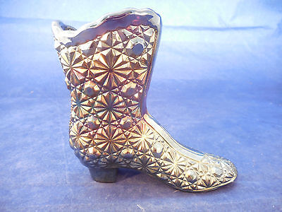 Fenton Carnival Irradescent High Top Boot Daisy And Button 4 1/4""