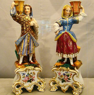 Rare Elegant Pair of Antique Old Paris Porcelain Empire Figural Candlesticks