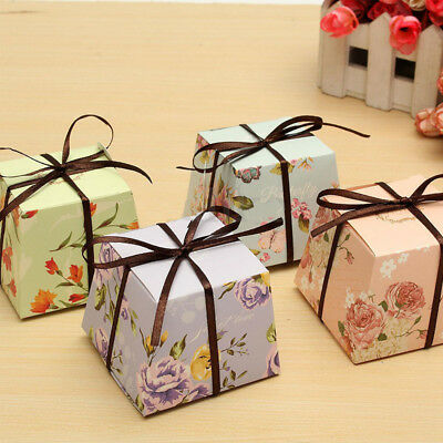 10 Pcs Wedding Favor Box Flower Blossom Ribbon Gift Boxes Candy Paper Party Box