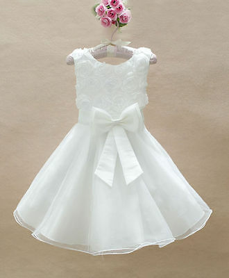 Girls Christmas Party Dress Flower Bridesmaid Wedding White Communion 9-10 Years