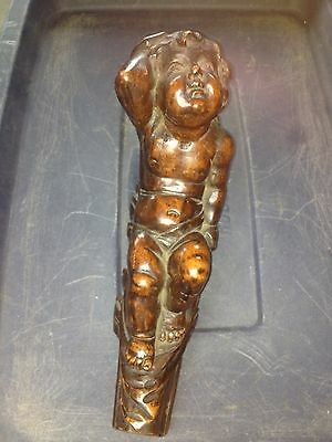 "1920's 11 1/2"" Carved Wood Cherub Pediment"