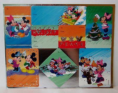 VINTAGE DISNEY MICKEY MOUSE MINNIE CHRISTMAS GIFT TAGS STICKERS 1 Sheet 8 Tags