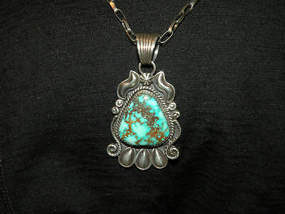 Vintage Handmade Navajo High Grade ROYSTON Turquoise Sterling Silver Pendant