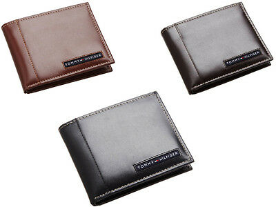 New Tommy Hilfiger Cambridge Passcase Credit Card Men Black Leather Wallet 5675