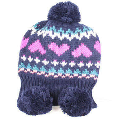 Animal Ladies Peonie Knitted Tibetan Bobble Beanie Hat Navy