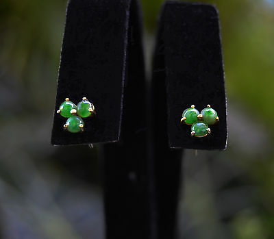 CHINESE Export Imperial /Apple Green JADEITE 3mm Cab 14K Post Back EARRINGS Stud