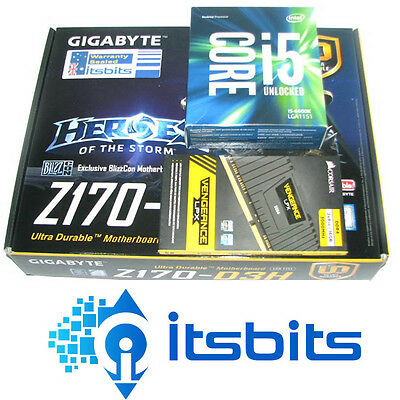 GIGABYTE Z170-D3H + INTEL I5-6600K GEN6 3.5GHz CPU SOCKET 1151 + 16GB DDR4 RAM