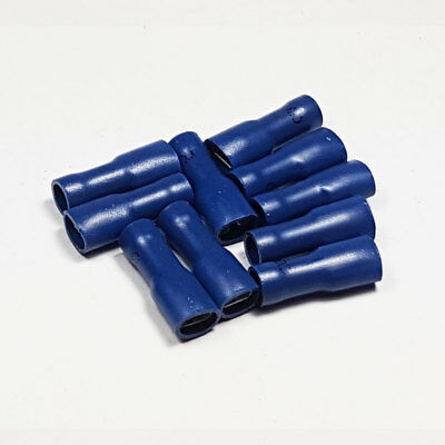 10 x 4.8mm Fully Insulated Blue Female Spade Terminal Connector Crimp Terminals