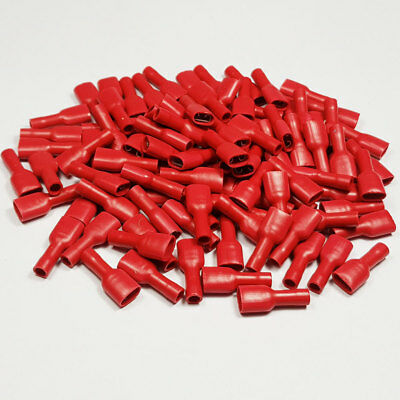 100 x 6.3mm Fully Insulated Red Female Spade Terminal Connector Crimp Terminals