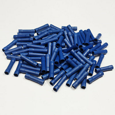 100 x Blue Fully Insulated Straight Butt Connector Terminals Crimp Electrical
