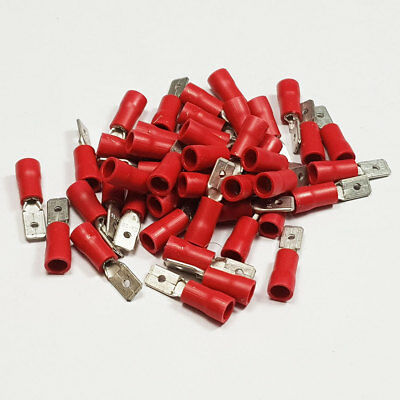50 x 4.8mm Red Insulated Male Spade Tab Terminal Connector Terminals Crimp