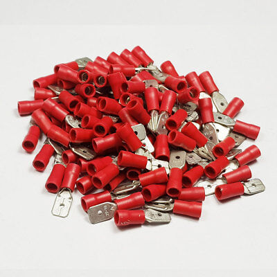 100 x 6.3mm Red Insulated Male Spade Tab Terminal Connector Terminals Crimp