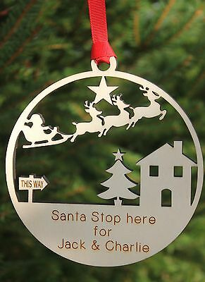 Personalised christmas decoration wood santa stop here engraved MADE IN UK 13cm