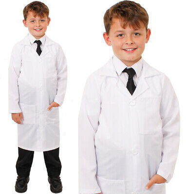 Childs White Lab Coat Fancy Dress Kids Doctors Scientist Costume Boys Girls