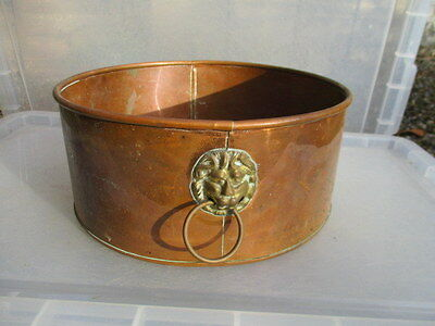 Vintage Copper Trough Tub Planter Plant Pot Round Old Lions Head Brass Handles