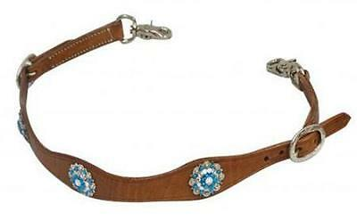 Showman MEDIUM OIL Leather Wither Strap BLUE RHINESTONE Conchos! NEW HORSE TACK!