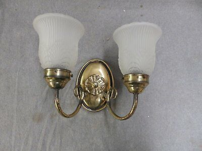 Vtg Interior Double Sconce Wall Light Fixture Decorative Glass Shades 1670-16