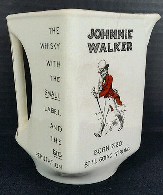 Vintage Johnnie Walker Whiskey Square Water Jug Still Going Strong Striding Man