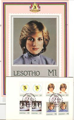 DIANA BIRTHDAY ON LESOTHO 1982 Sc 372-75 PAIR CANCELLED F.D. IN FOLDER