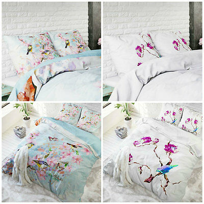 Floral Duvet Cover with Pillow Case Quilt Cover Bedding Set Single Double King