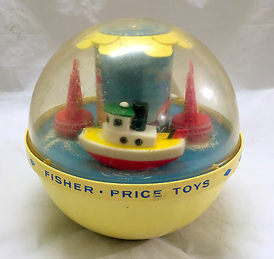 Vintage 1960's Fisher Price Roly Poly Boat Chime Ball #162 RARE Yellow Sailboat