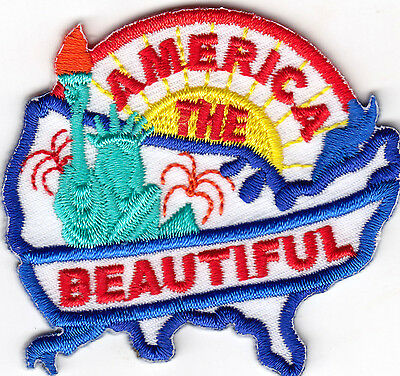 """""""AMERICA THE BEAUTIFUL""""- USA Patriotic Statue of Liberty Iron On Patch"""