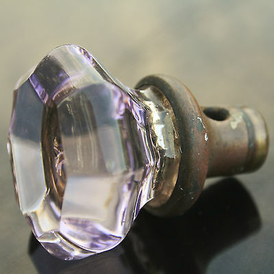 "Glass Crystal Door Knob 8 Point 1 3/4"" Antique Vintage Amethyst Purple Voilet"