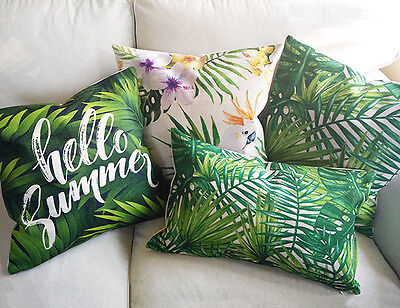 New Home Decoration Tropical Forest Linen Cushion Cover/Pillow Case