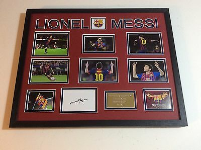 Lionel Messi Barcelona FC Hand Signed Professional Mounted Montage